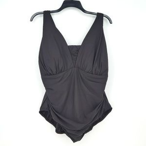 Lands End Dark Brown One Piece Swimsuit  (V14)